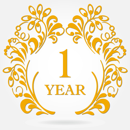 1 year anniversary icon in ornate frame with floral elements. Illustration