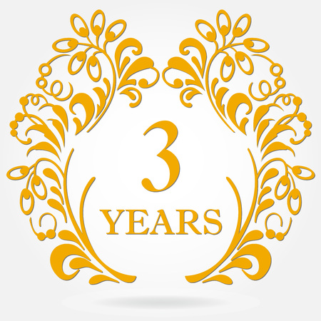 3rd years anniversary icon in ornate frame with floral elements. Template for celebration and congratulation design. 3rd anniversary golden label. Vector illustration.