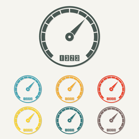 Speedometer icon with arrow. Infographic gauge element. Template for download design. Colorful vector illustration in a flat style.
