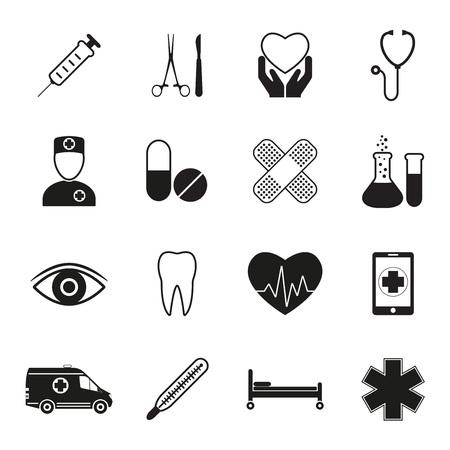 Medical icon set, isolated on white background. Medicine design elements. Vector illustration.  イラスト・ベクター素材