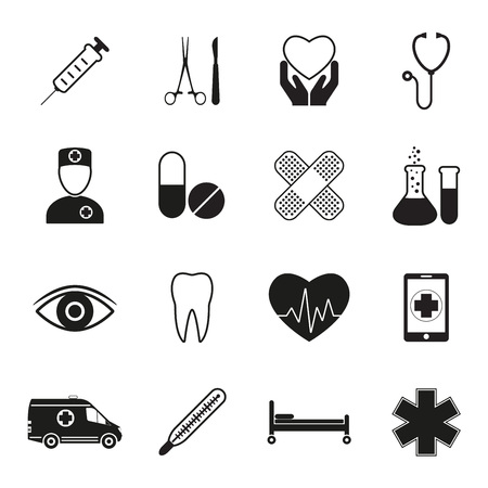 Medical icon set, isolated on white background. Medicine design elements. Vector illustration. Vettoriali