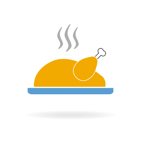Cooked turkey icon. Roasted chicken ready for thanksgiving. Colorful vector illustration in a flat style. Illustration