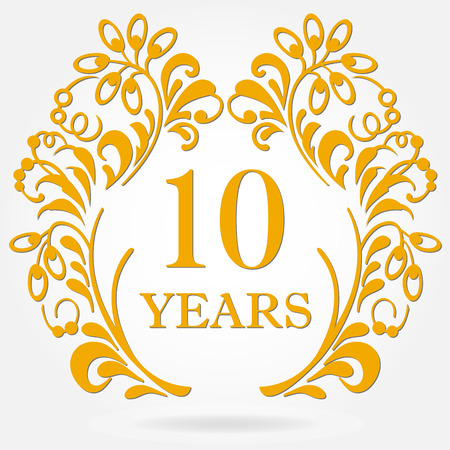 10 years anniversary icon in ornate frame with floral elements. Template for celebration and congratulation design. 10th anniversary golden label. Vector illustration.