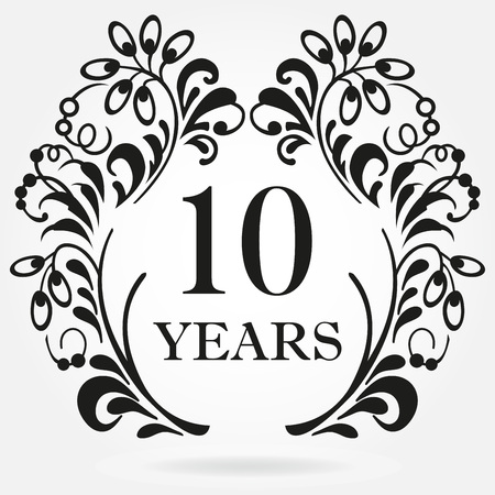 10 Years Anniversary Icon In Ornate Frame With Floral Elements ...