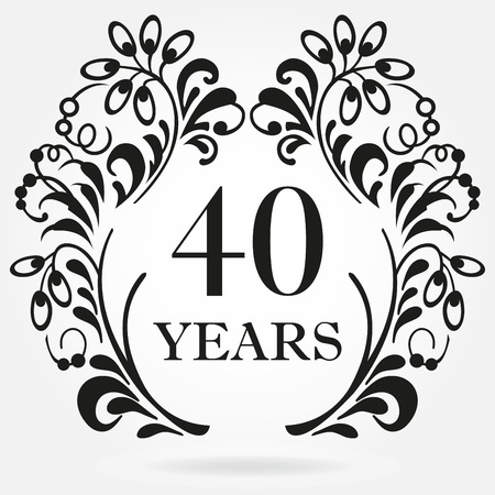 40 years anniversary icon in ornate frame with floral elements. Template for celebration and congratulation design. 40th anniversary label. Vector illustration.