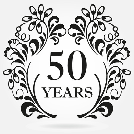 50 years anniversary icon in ornate frame with floral elements. Template for celebration and congratulation design. 50th anniversary label. Vector illustration.