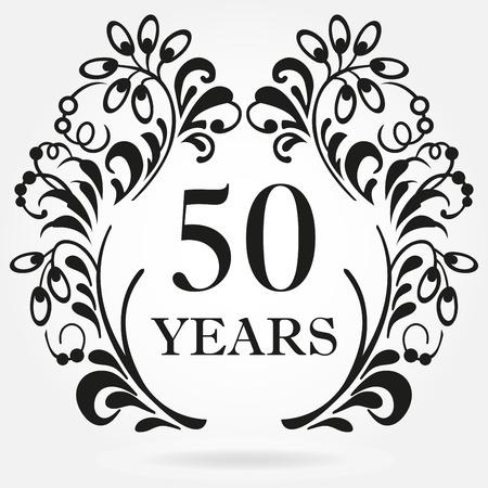 Icône d'anniversaire de 50 ans dans un cadre fleuri avec des éléments floraux. Modèle de conception de célébration et de félicitation. Étiquette du 50e anniversaire. Illustration vectorielle. Banque d'images - 97305435
