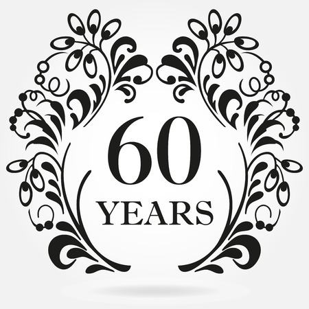 60 years anniversary icon in ornate frame with floral elements. Template for celebration and congratulation design. 60th anniversary label. Vector illustration.