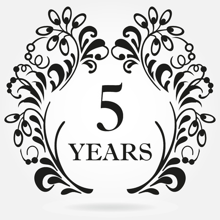 5 years anniversary icon in ornate frame with floral elements. Template for celebration and congratulation design. 5th anniversary label. Vector illustration.
