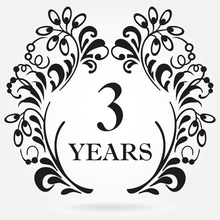 3rd years anniversary icon in ornate frame with floral elements. Template for celebration and congratulation design. 3th anniversary label. Vector illustration.