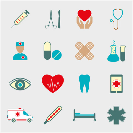 Medical icon set isolated on white background. Medicine design elements. Vector illustration. Vectores