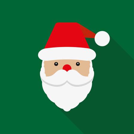 Santa Claus icon. Santa Claus face in flat design. Christmas card template. Colorful vector illustration.