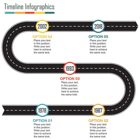 Timeline infographics template with arrow from the asphalt winding road and space for text. Horizontal design elements.