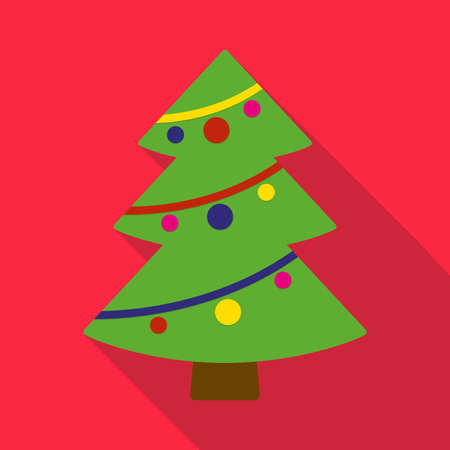Christmas tree flat icon with long shadow. Christmas card template. Colorful vector illustration.
