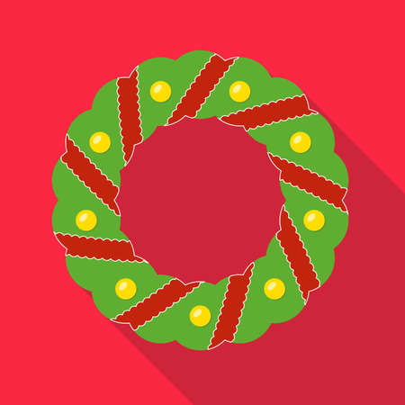 Christmas wreath icon with ribbons and balls. Advent wreath in flat design with long shadow. Christmas card template. Colorful vector illustration. 向量圖像