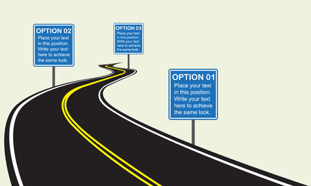 Asphalt winding road with road signs. Infographics template with winding road. Vector illustration.