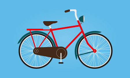 Bicycle icon or road bike in flat design. Colorful vector illustration. Illustration