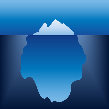 Iceberg in the ocean. Vector illustration.