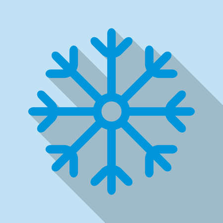 Snowflake icon. Snowflake in flat design with long shadow. Winter and Christmas card template. Colorful vector illustration.