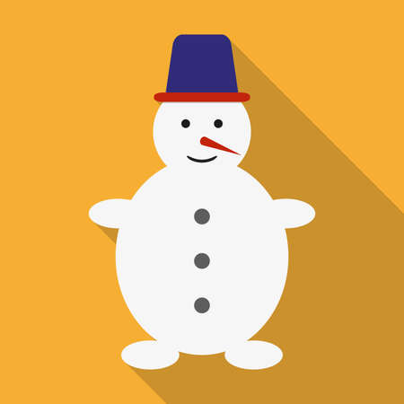 Snowman icon. Snowman in flat design with long shadow. Winter and Christmas card template. Colorful vector illustration.