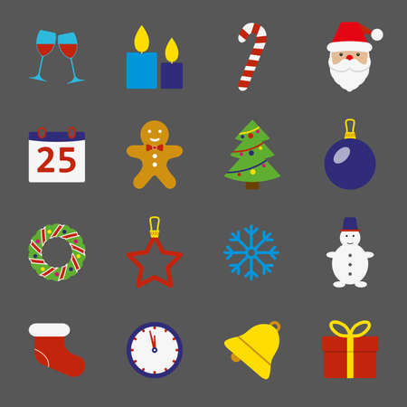 Christmas icons set. New Year and Christmas symbols in flat style. Colorful vector illustration.