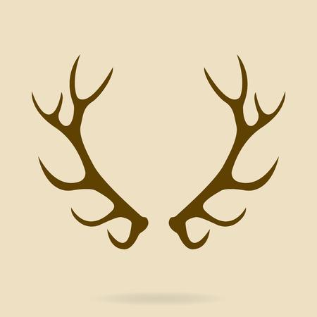 Deer antlers. Horns icon. Vector silhouette. 矢量图像