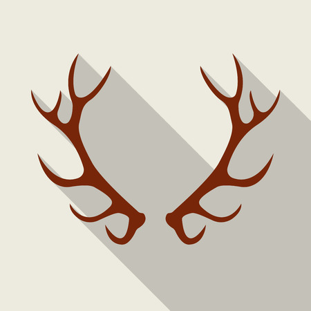 Deer antlers. Horns icon in flat style with long shadow. Vector silhouette.