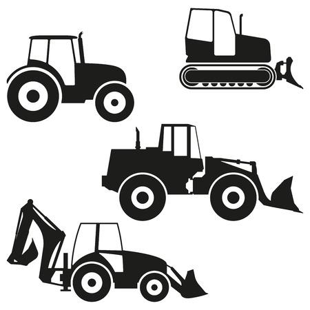 Jeu d'icônes de tracteur isolé sur fond blanc. Niveleuse de tracteur, silhouette de bulldozer. Illustration vectorielle. Vecteurs