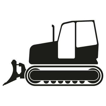 Tractor or bulldozer icon isolated on white background. Tractor grader silhouette. Vector illustration. Ilustração