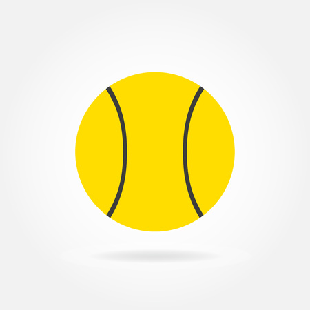 Tennis ball icon in white. Vector illustration.