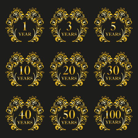 Anniversary icon set. Anniversary symbols in ornate frame with floral elements. 1,3,5,10,20,30,40,50,100 years. Template for cards and congratulation design. Vector illustration.