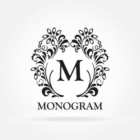 Monogram template. Vintage frame. Design element for hotel, restaurant, boutique, floral shop, jewelry, fashion, wine, heraldic, emblem.