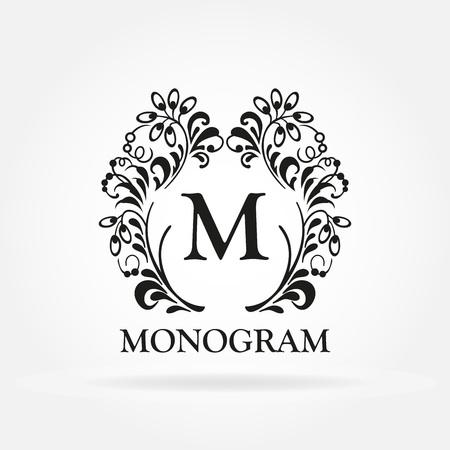 Monogram template. Vintage frame. Design element for hotel, restaurant, boutique, floral shop, jewelry, fashion, wine, heraldic, emblem.