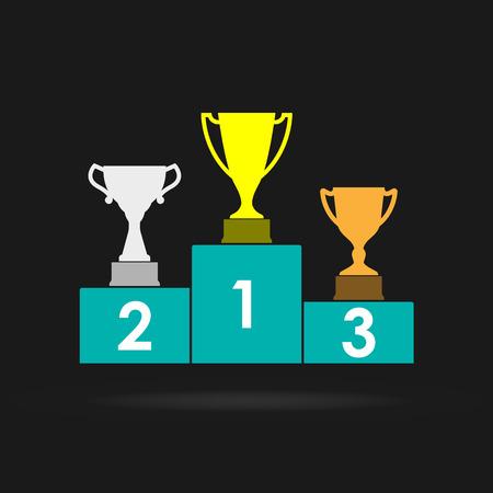 Trofeo de la Copa de Oro, Plata y Bronce en el podio de premios. Premio al primer lugar. Campeones o ganadores Elementos de infografía. Ilustración de vector.