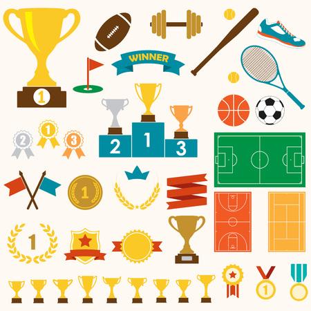 Trophäe, Preise und Sportikonenset: gewinnender Trophäenpokal, Medaillen, Sockel, Flaggen, Bänder, Bälle, Sportfelder. Bunte vektorabbildung.