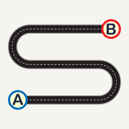 Point A to point B with winding road. Vector illustration.