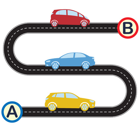 Road with cars going from point A to point B . Vector illustration of winding road and colorful vehicles icons in flat design. Transportation and traffic infographics template. Illustration