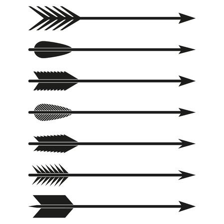 Arrows set. Bow arrows. Archer symbol isolated on white background. Vector illustration.