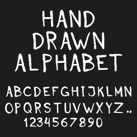 Alphabet hand drawn letters and numbers isolated on black background vector illustration. Illustration