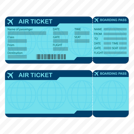 Airline or plane ticket template. Detailed boarding pass blank and airplane ticket vector illustration. Illustration