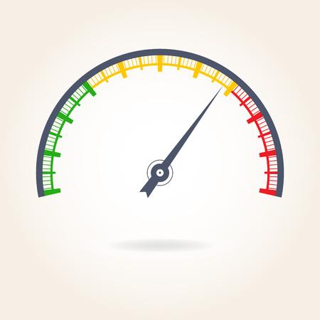 Meter with arrow icon, colorful gauge element vector illustration. Stock Illustratie