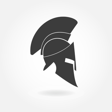 Spartan helmet icon. Ancient Roman or Greek helmet with feathered crest. Metal helmet for head protection. Vector illustration.