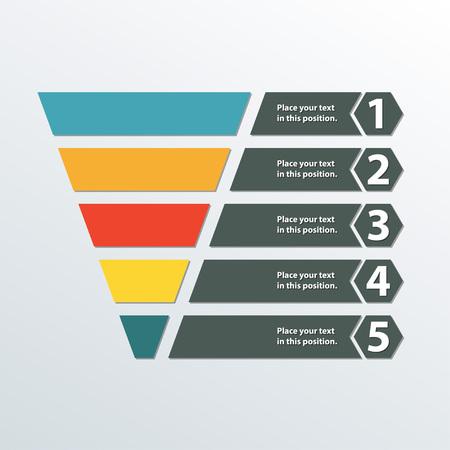Trichtersymbol. Vorlage für Marketing und Vertrieb. Geschäft Infographik Gestaltungselement. Bunte vektorabbildung.