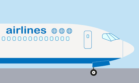 Airplane nose. Airplane side view.  イラスト・ベクター素材