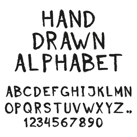 Alphabet. Hand drawn letters and numbers isolated on white background.