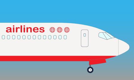 Airplane nose. Airplane side view. Illustration