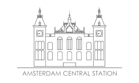Amsterdam centraal station. Overzicht silhouet.
