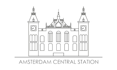 Amsterdam central station. Outline silhouette.