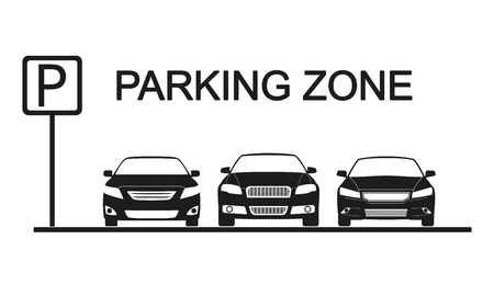 Parking zone with car icons. Parking concept in flat style.