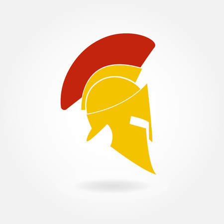 Spartan helmet icon. Ancient Roman or Greek helmet with feathered crest. Metal helmet for head protection. Illustration